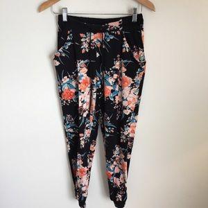 BCNU floral print black drawstring Jogger pants